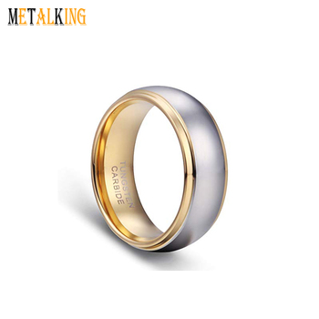 8mm Men S Wedding Bands 18k Gold Plated Tungsten Ring Band Comfort Fit
