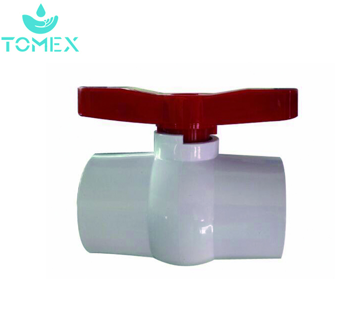 socket/thread red handle pvc plastic compact ball valve