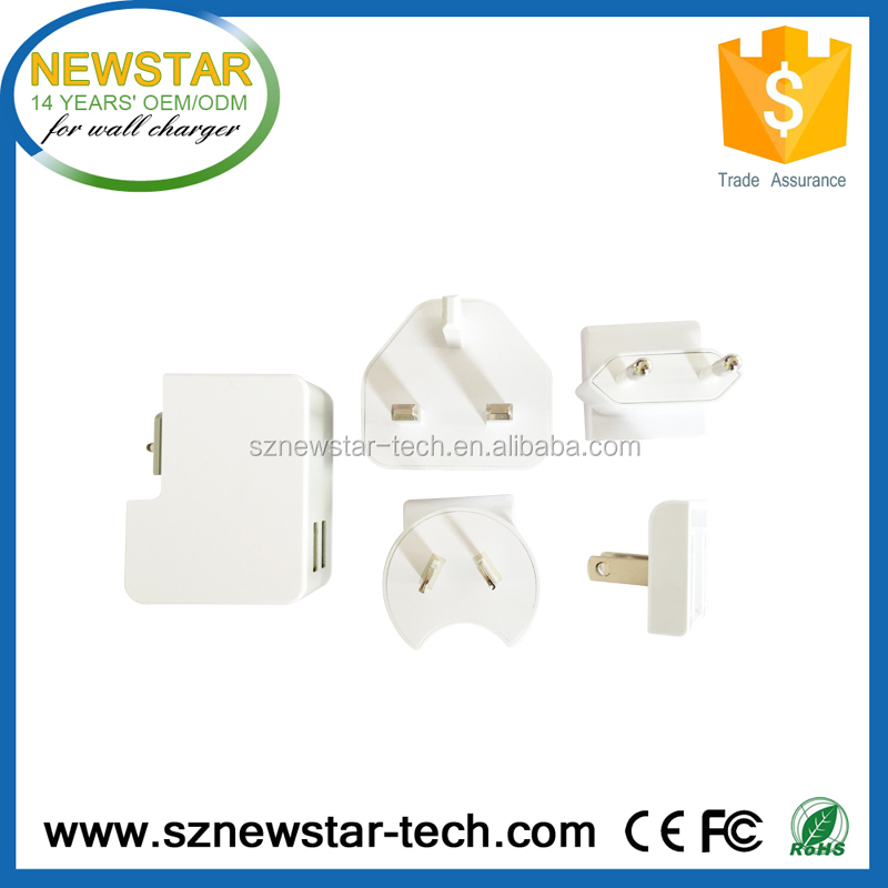 5V,2.5A Interchangeable plug UK,Europe,USA and AUS multiple usb wall charger