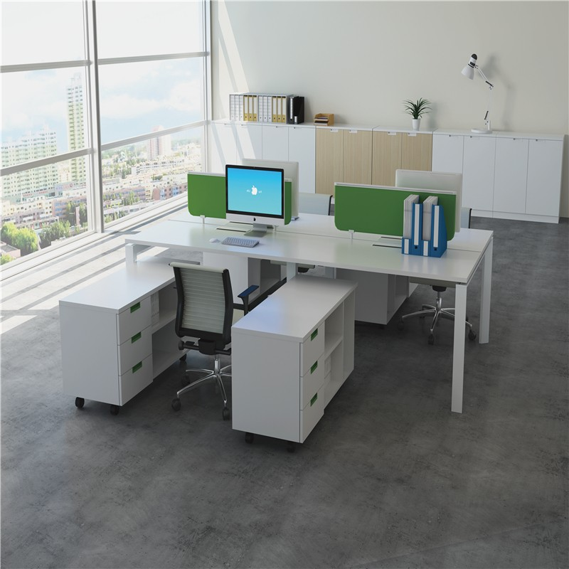 4 Seater Latest Wooden Office Staff Table Design With Metal Legs ...