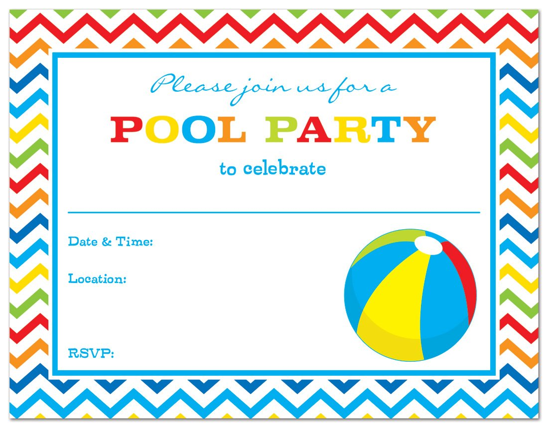 Buy 24 Pool Party Beach Ball Fill-in Kids Birthday Party Invitations ...