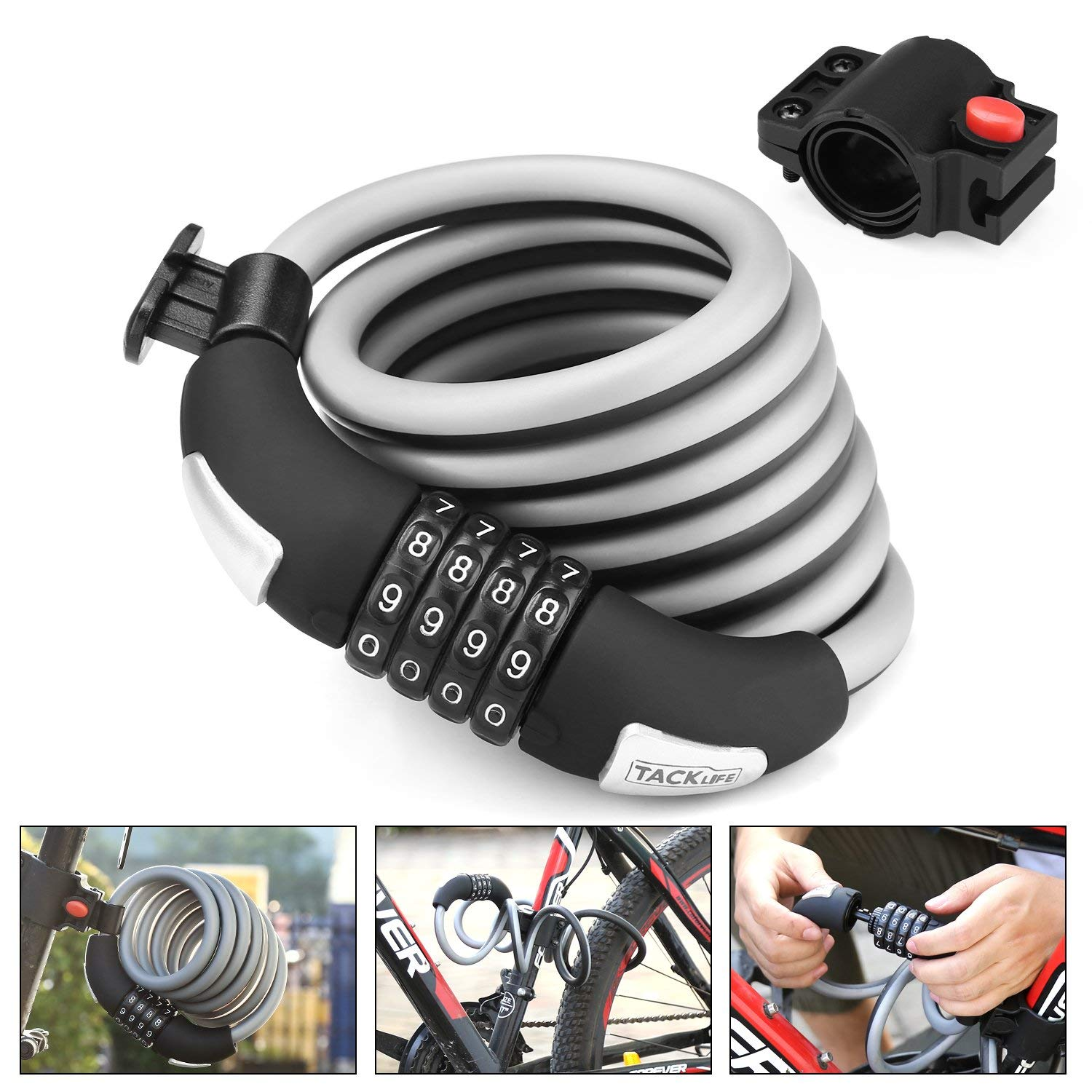 TACKLIFE Bike Lock, 6-Feet Heavy Duty Bike Lock Cable Self Coiling Resettable Combination Cable Bike Locks with Complimentary Mounting Bracket, 6 Feet x 1/2 Inch - HCL2C