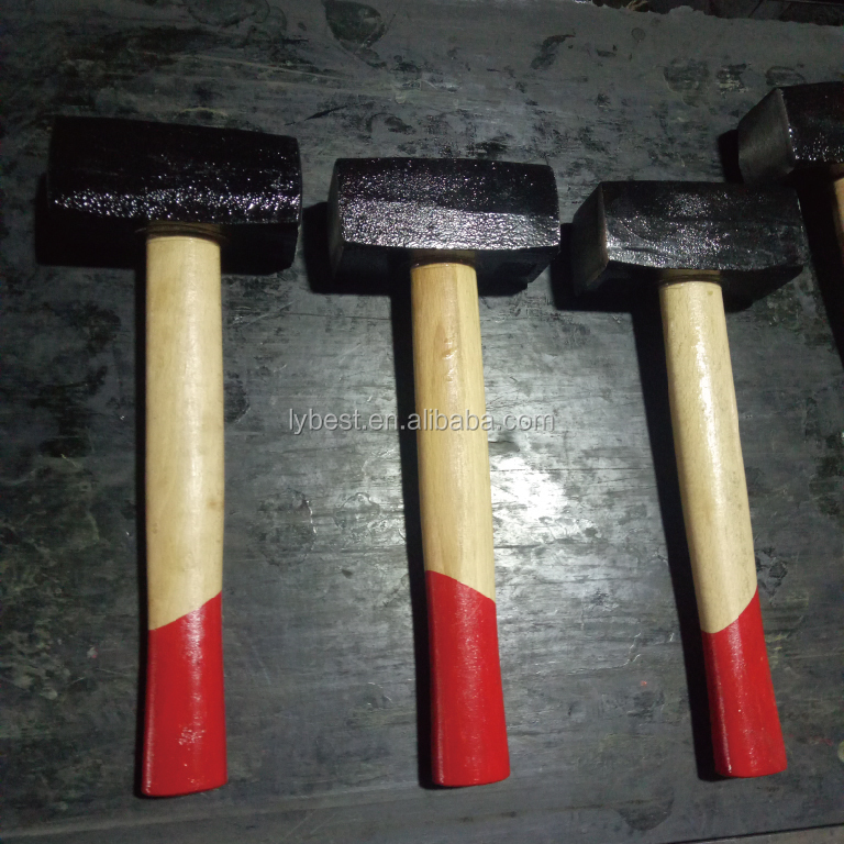 2kg low price Cast iron steel material mason stoning hammer with Wooden /Fiber glass handle