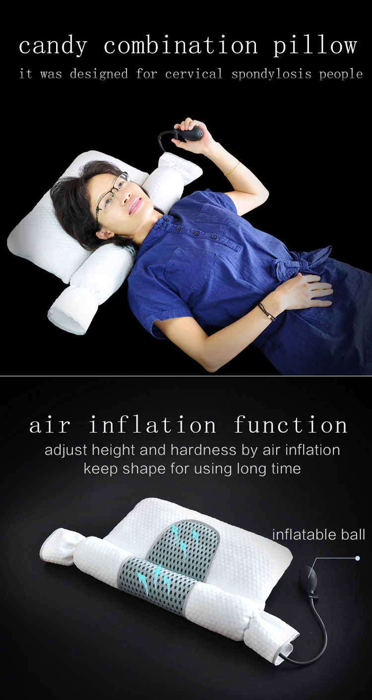 cervical cylindrical pillow with pearl cotton inflatable Buckwheat  lumbar pillow