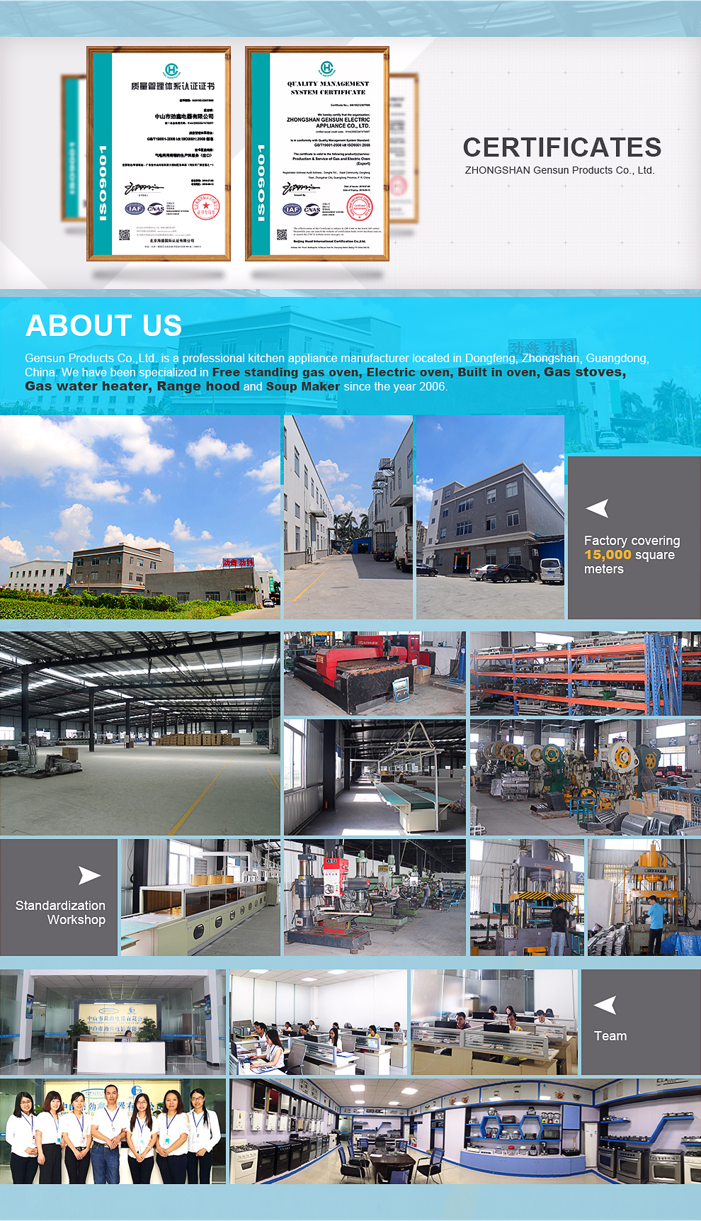 Zhongshan Gensun Electric Appliance Co Ltd Free standing oven