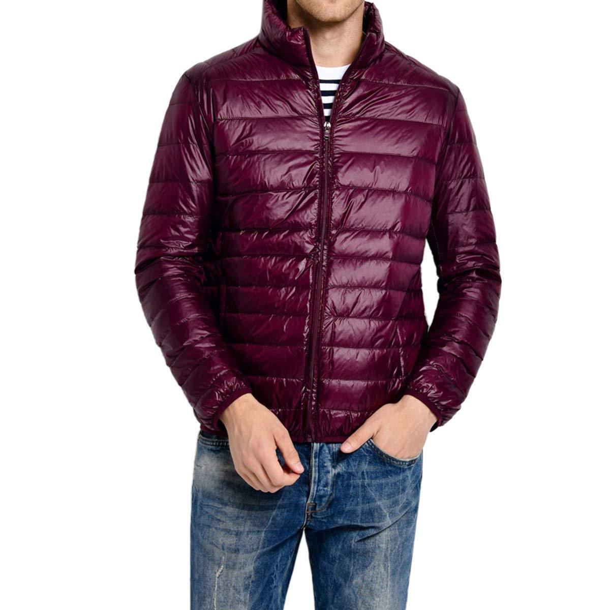 ouxiuli Mens Down Jacket Down Lightweight Packable Winter Outerwear