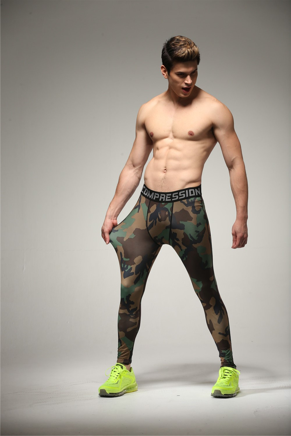 men 39 s camo base layer fitness jogging trousers compression. Black Bedroom Furniture Sets. Home Design Ideas