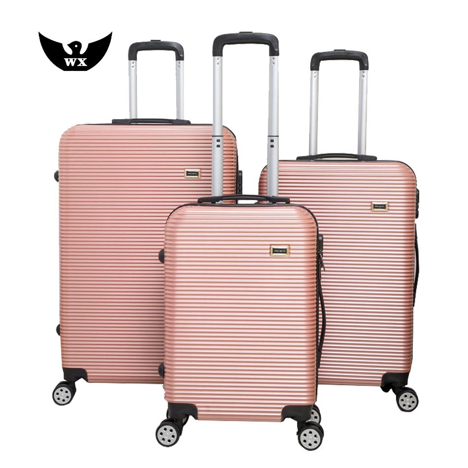 Ensemble de bagages de luxe avec cadre en aluminium avec roues rotatives, valise de voyage à roulettes, plastique abs de bonne qualité