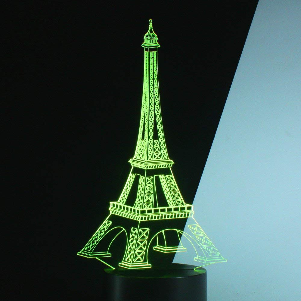 Romantic Eiffel Tower in Paris France 3D Optical Illusion Night Light, 7 Colors Changing, Smart Touch Button USB Powered(Contains the power adapter),Amazing Creative Art Design for Home Decor. P2821