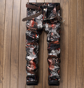 X84138A wholesales price men clothing man printing casual pu leather pants and trousers