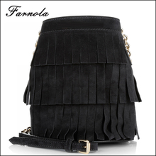 2016 Lady hand bag lastest designer handbag women Baby Bucket Bag Fringe Black