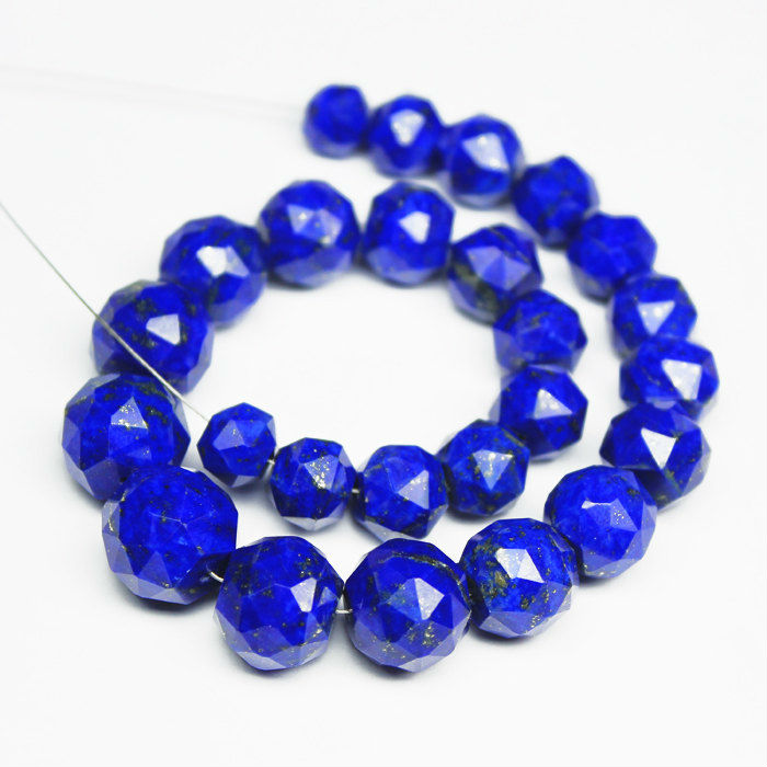 8 Inches - 7-12mm - AAA Top Quality - Natural Lapis Lazuli Rose Cut Round Beads Roundel Strand