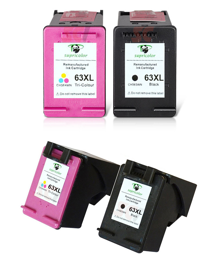 Supricolor Black & Tri-colors Remanufactured ink cartridges compatible 63 XL suitable for hp deskjet 2130