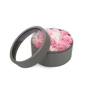 Paper Round gift box with window carton flower box