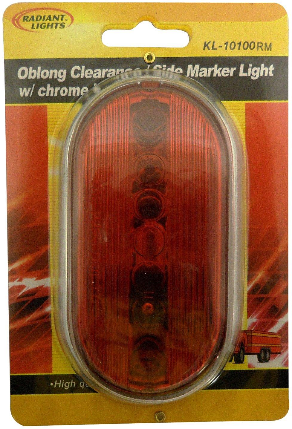 AutoSmart KL-10100RM Red Oblong Side Marker Light with Chrome Housing
