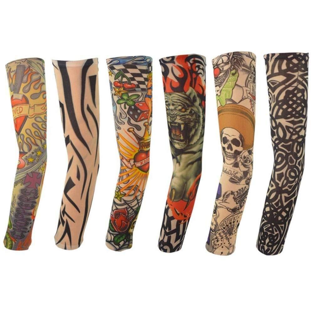 5729c0a3a Get Quotations · UMFun 6Pcs Nylon Elastic Temporary Tattoo Sleeve Designs  Body Arm Stockings Tatoo Cool Tattoo Sleeve