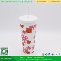 Double Wall Plastic Coffee Mug With Straw,Acrylic Vacuum Coffee Tumbler Travel Cup With Straw,Reusable Tumbler With Color Design