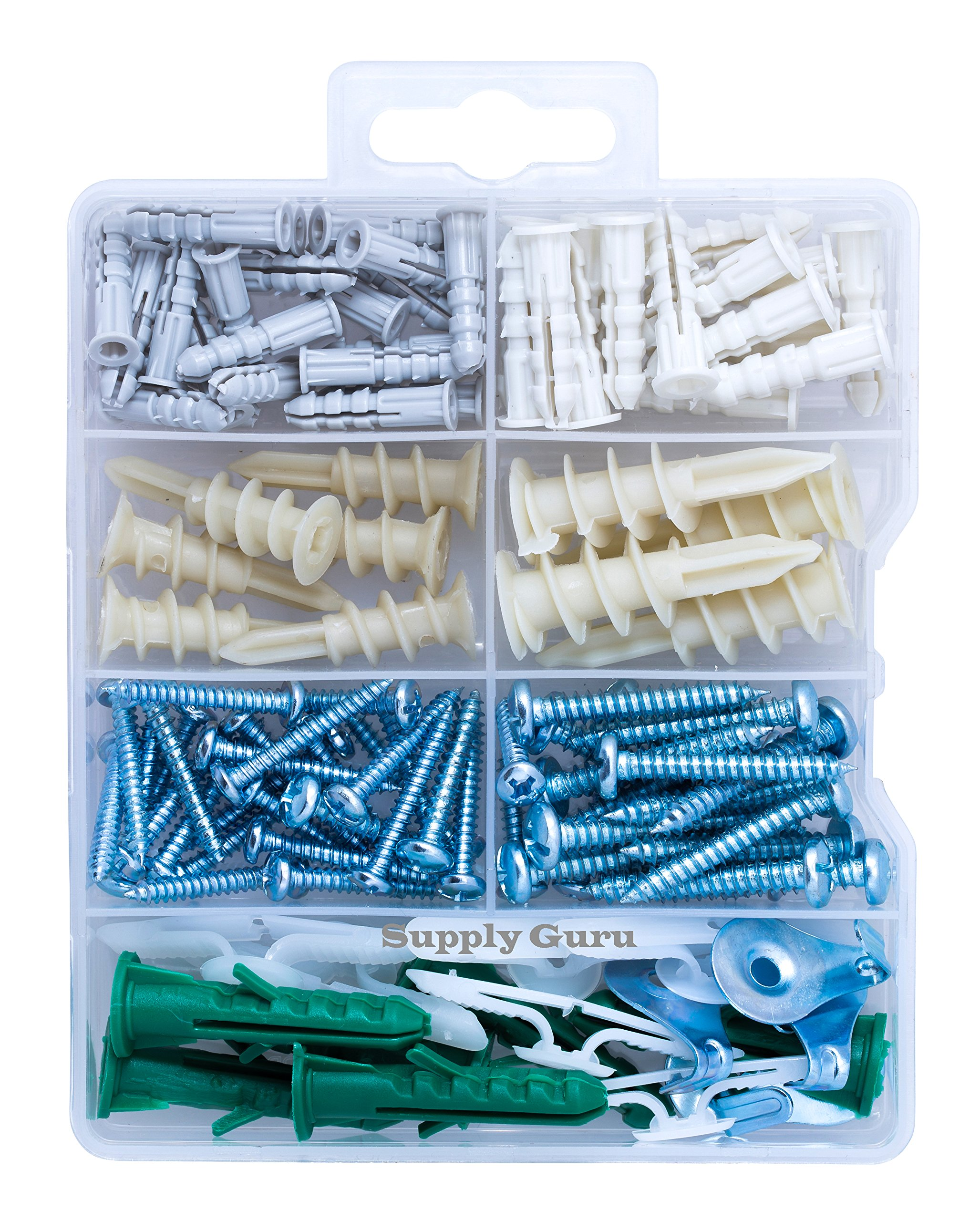 Drywall Anchor and Screw Assortment Kit, Hollow-Door Anchor, Toggle Bolt Wings, Phillips or Slotted Pan Head Screws, Picture Hangers, High Value (112-Pack).