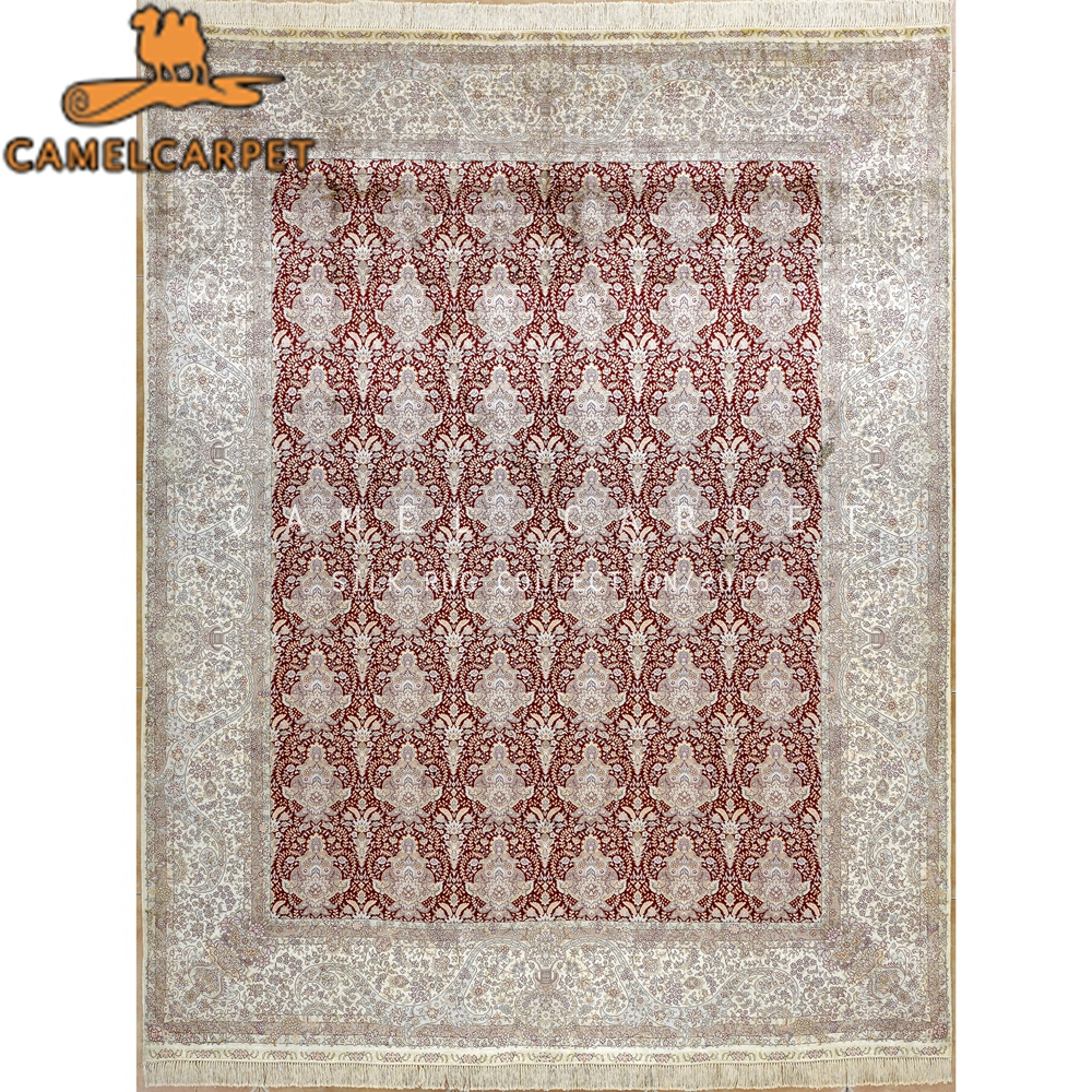 soie tapis 8x10 espace oriental rouge lotus motif egypte tapis persan - Tapis Oriental Rouge