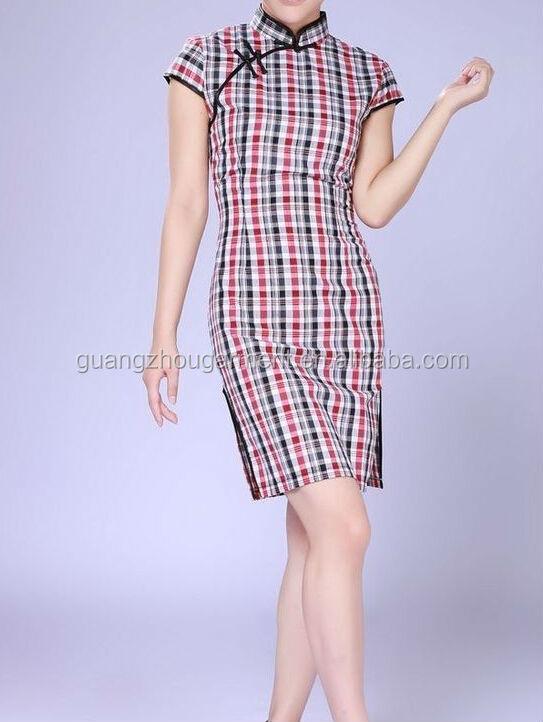Chinesisch Alten Shanghai-stil Baumwolle Sexy Frauen Vintage Plaid ...
