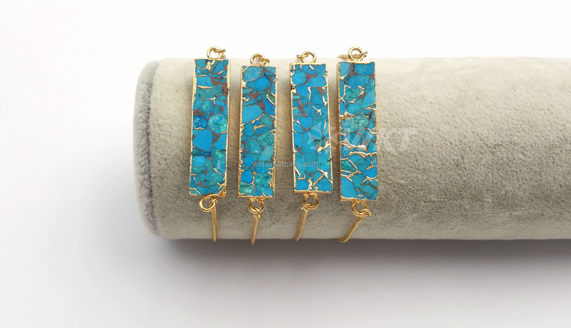 WT-B473 Women Gold Bracelet Jewelry Natural Blue Vein Turquoises Bracelet Rectangle Shape stones Link Adjustable Bracelet