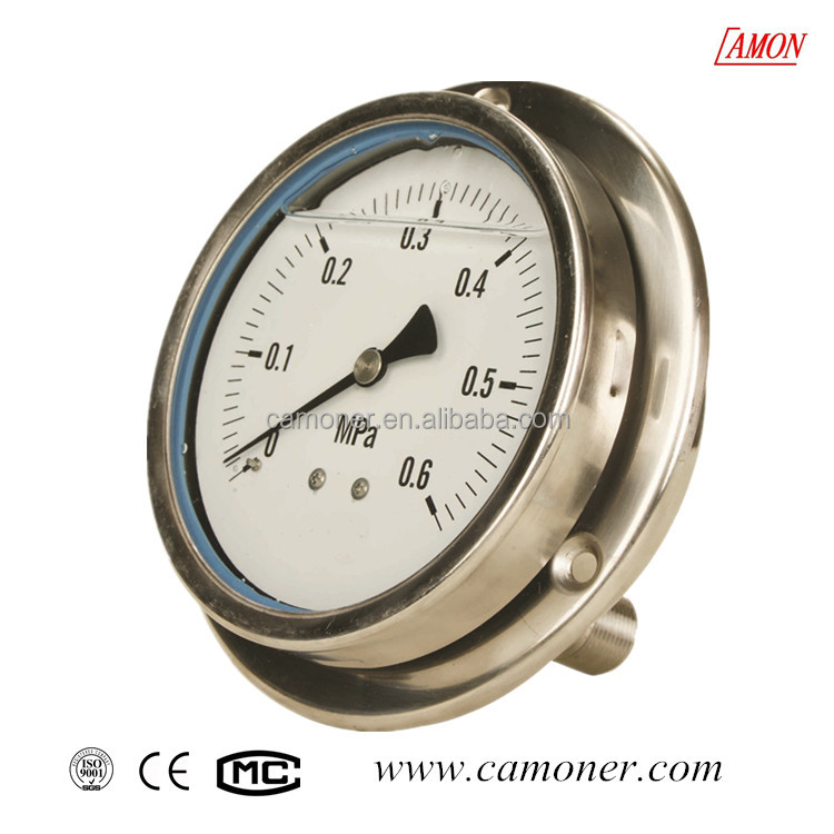 stainless steel pressure gauge with laminated safety glass cover