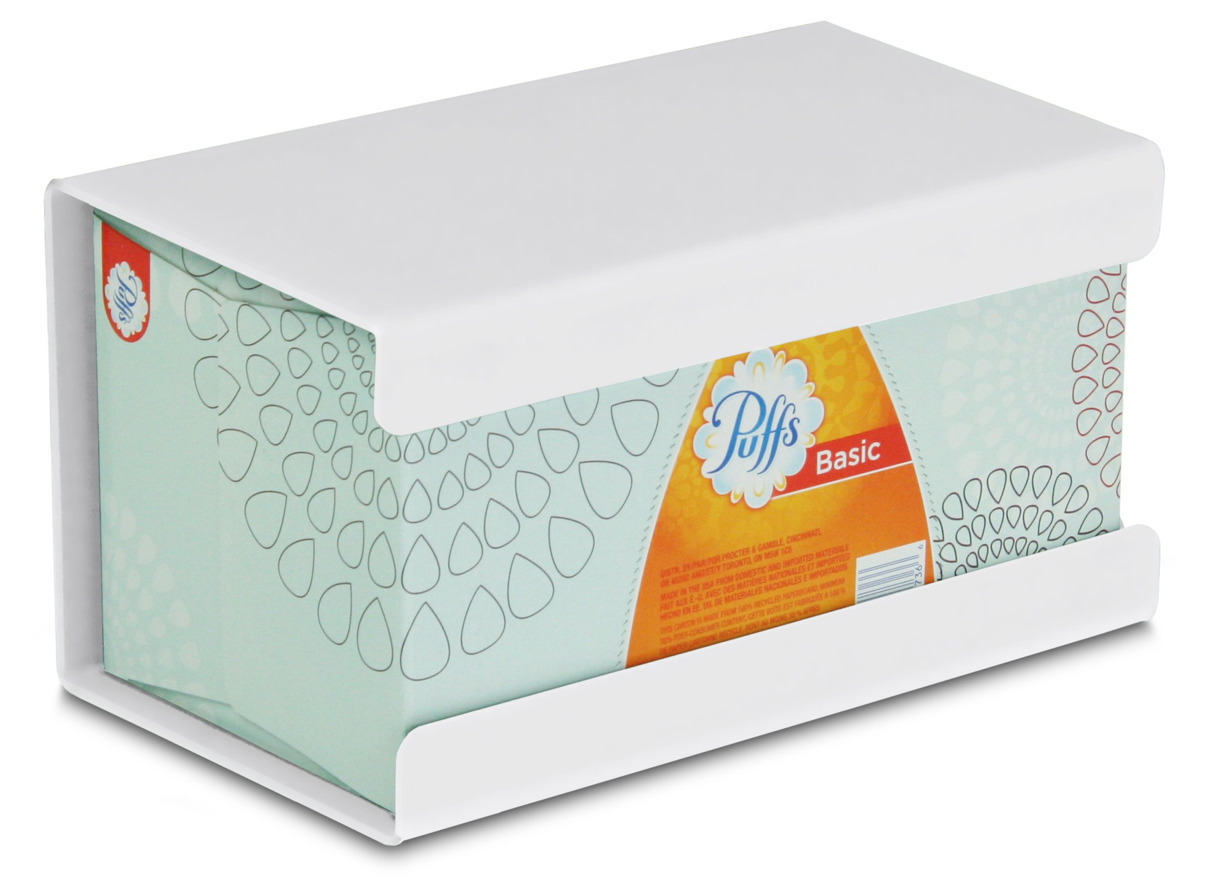 "TrippNT 50997 Plastic Wall Mountable Kleenex Box Holder, 9-1/2"" Width x 5-1/4"" Height x 5"" Depth, Large, White"