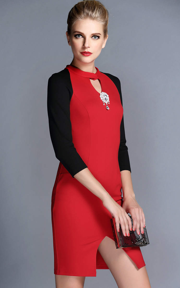Wholesales New Design Long Sleeves Stretch Crepe Women Winter Office ...