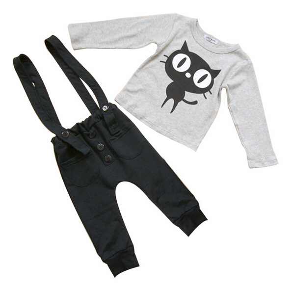 c3d1732ba52da Get Quotations · Age 3-7 Boys Clothes Children T Shirts + Suspender  Overalls Pant Outwear Bodysuits Tracksuit