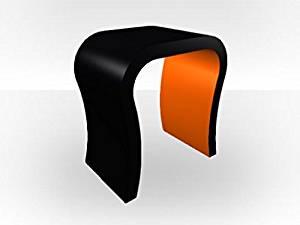 Zespoke Black Outer Curved Bedside Table - Orange Gloss Inner