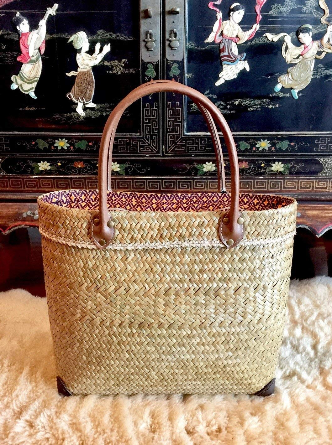 Get Quotations · Handwoven Straw Bag 4be766359554e