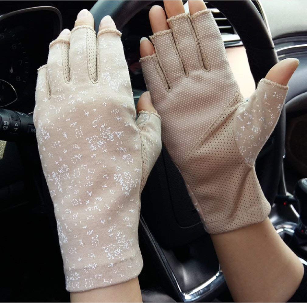 Jinon Sunblock Fingerless Gloves, Non Skid Summer Gloves UV Protection Driving Gloves Floral Half Finger Sunscreen Arm Sleeves Outdoor Gloves for Women and Girls Dotted Beige (khaki color)