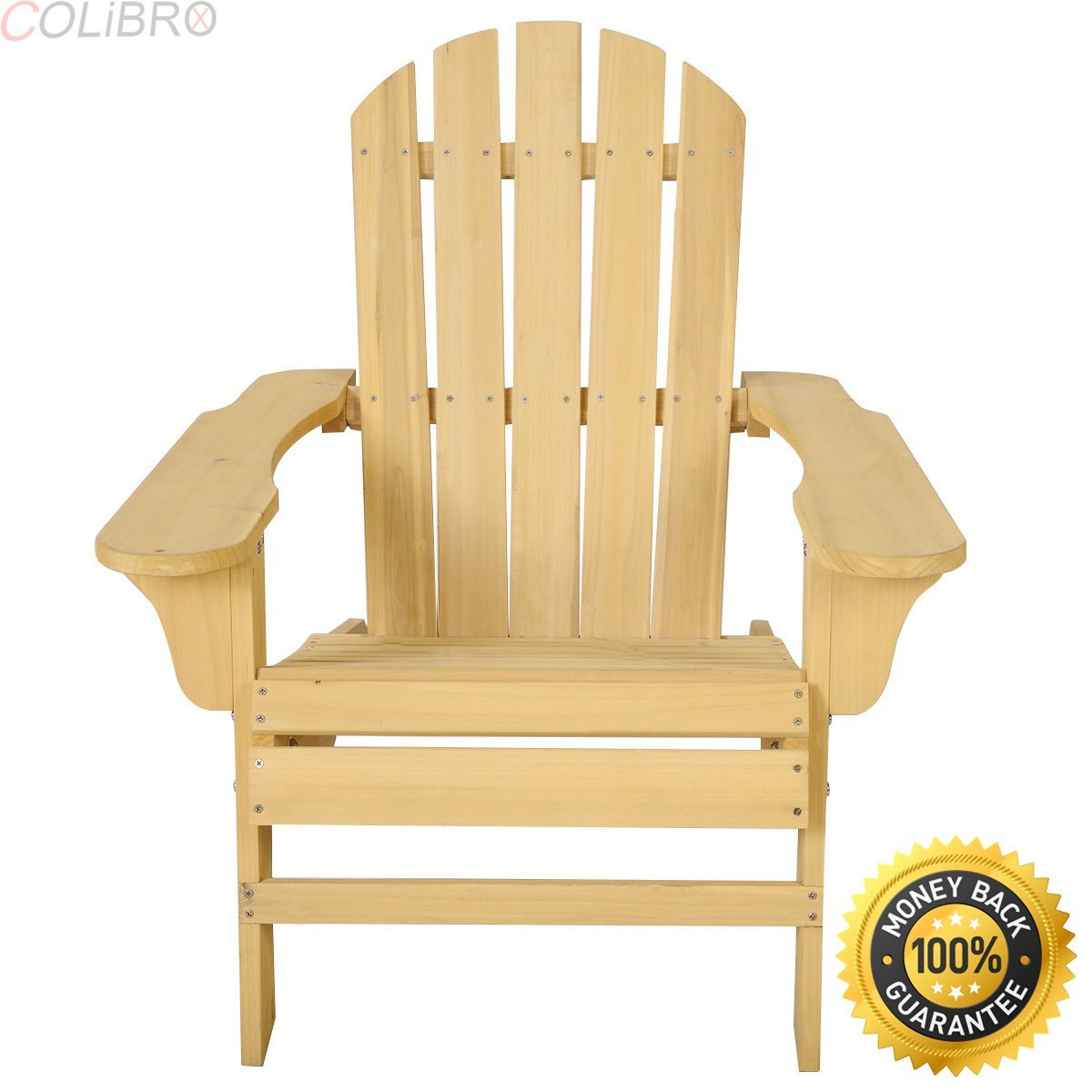 COLIBROX--Outdoor Natural Fir Wood Adirondack Rocking Chair Patio Deck Garden Furniture. Natural finish adds a classic outdoor style to your patio or backyard setting.