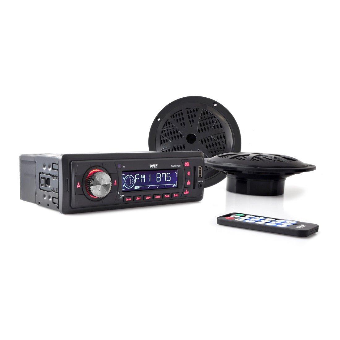Marine Headunit Receiver Speaker Kit - In-Dash LCD Digital Stereo w/ AM FM Radio System 5.25'' Waterproof Cone Speakers (2) MP3/USB/SD Readers Aux Input Single DIN & Remote Control - Pyle PLMRKT12BK