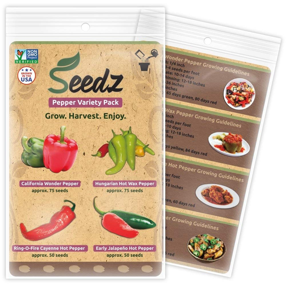 TOP-SELLING Certified Organic Seeds - Pepper Variety Pack - Bell Pepper, Jalapeno Pepper, Hot Wax Pepper, Cayenne Pepper Seeds - Heirloom Seeds - Non GMO, Non Hybrid Vegetable Seeds - USA