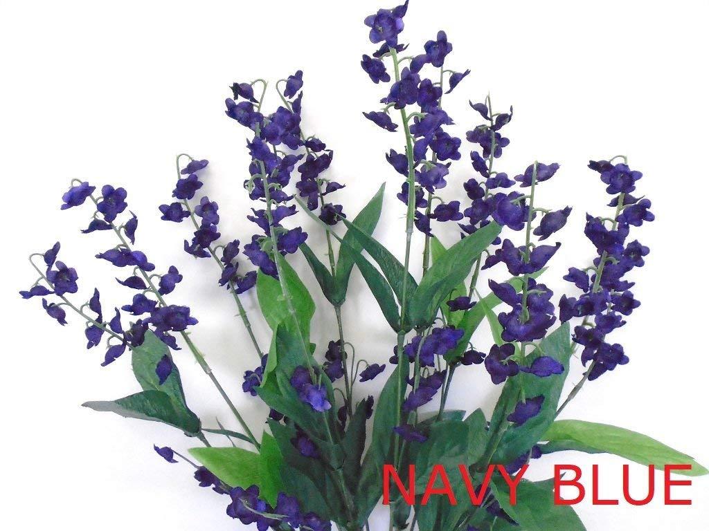 "Phoenix Silk Lily of Valley Bush Artificial Silk Flowers 20"" Bouquet 6217 NAVY BLUE"