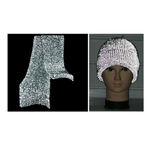 2017 new hot sale flanging folding knitted light reflective hat / stripe Hats with reflective yarn reflective hair ball