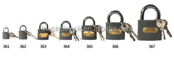 High Quality Tri-circle Grey Paint Iron Padlock 361-367