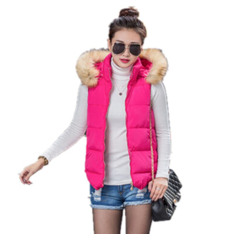 6 Colors 2015 Women Autumn/Winter Fashion Cotton Vest Fur Hooded Thick Warm Down Waistcoat Female Jacket&Outerwear CC2185S