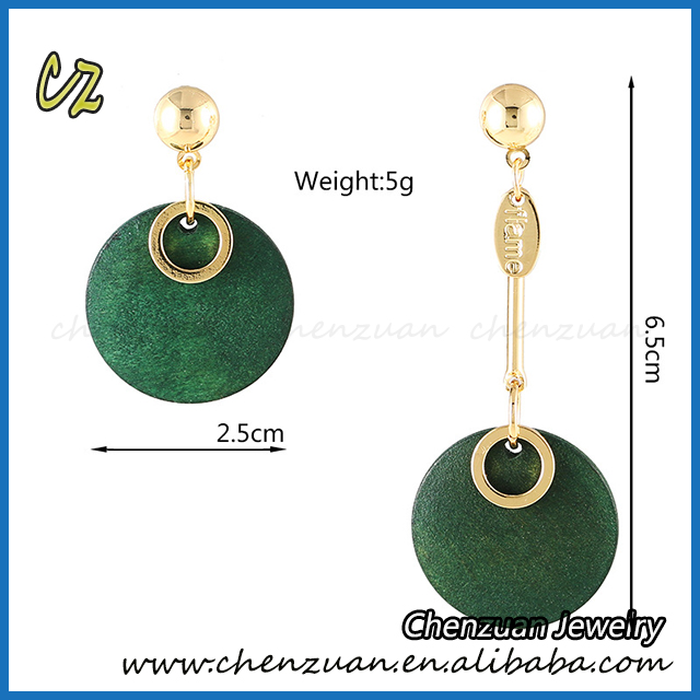 Korean style fashion cheap asymmetry round wood earrings stud for girls