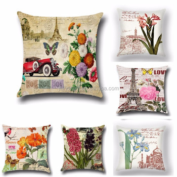 Retro Building Flowers Butterfly Cushion Cover Decorative Pillow Pillowcase