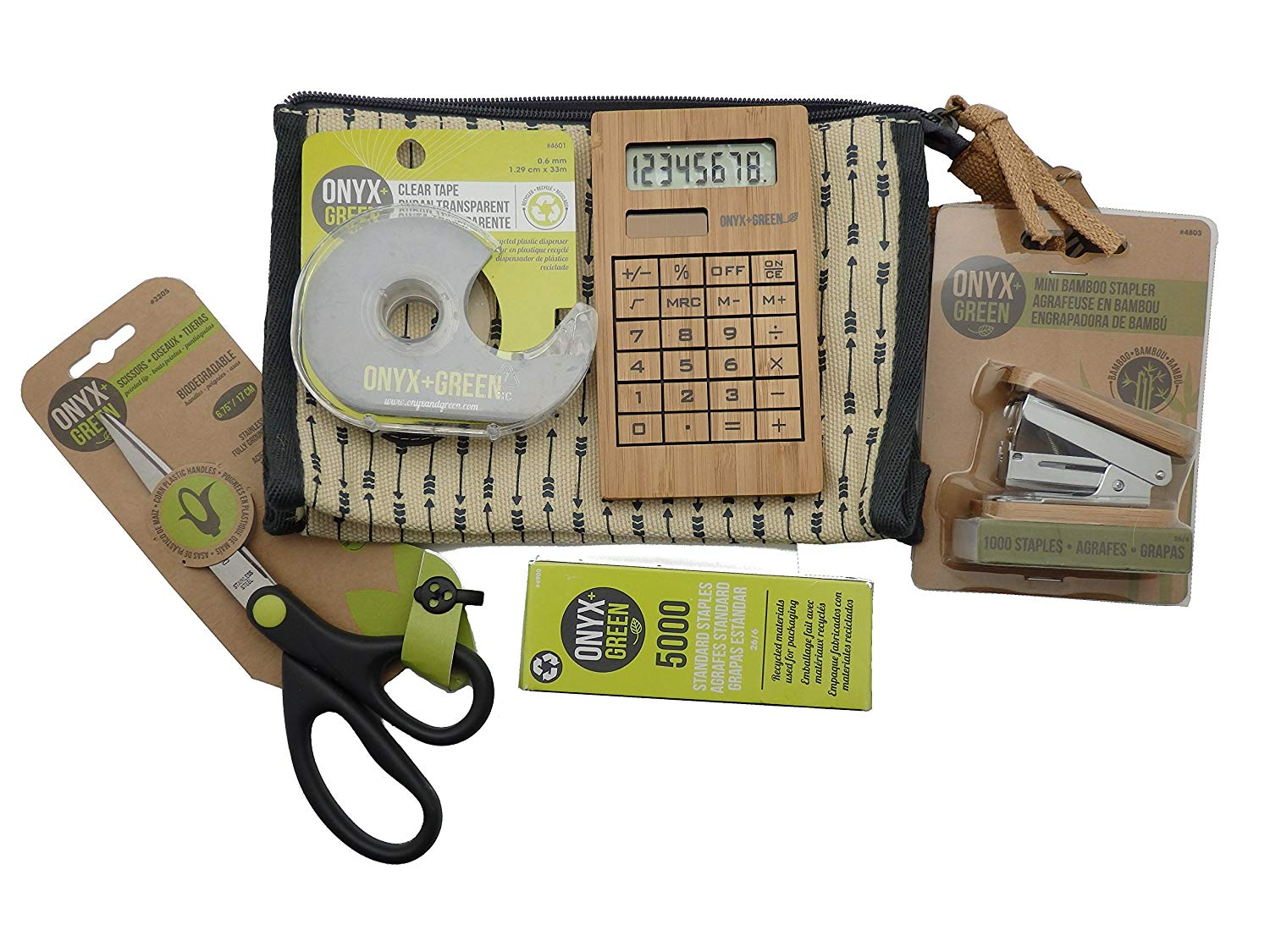 Recycled Sustainable Materials Green Eco Friendly School Office Supplies Kit - Scissors, Tape, Stapler and Calculator in a 100% Jute/Ramie Leaf Pencil Case
