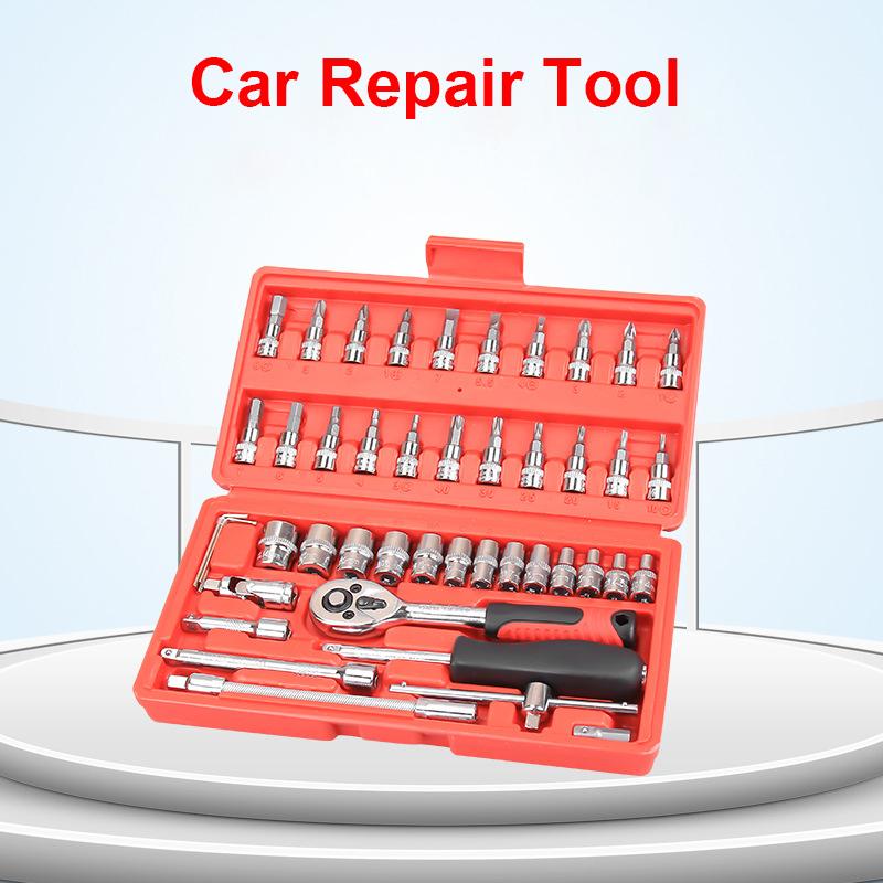 Drop shipping Car Repair Tool 46pcs 1/4-Inch Socket Car Repair Tool Ratchet Torque Wrench Combo Tools Kit Auto Repair Tool Set