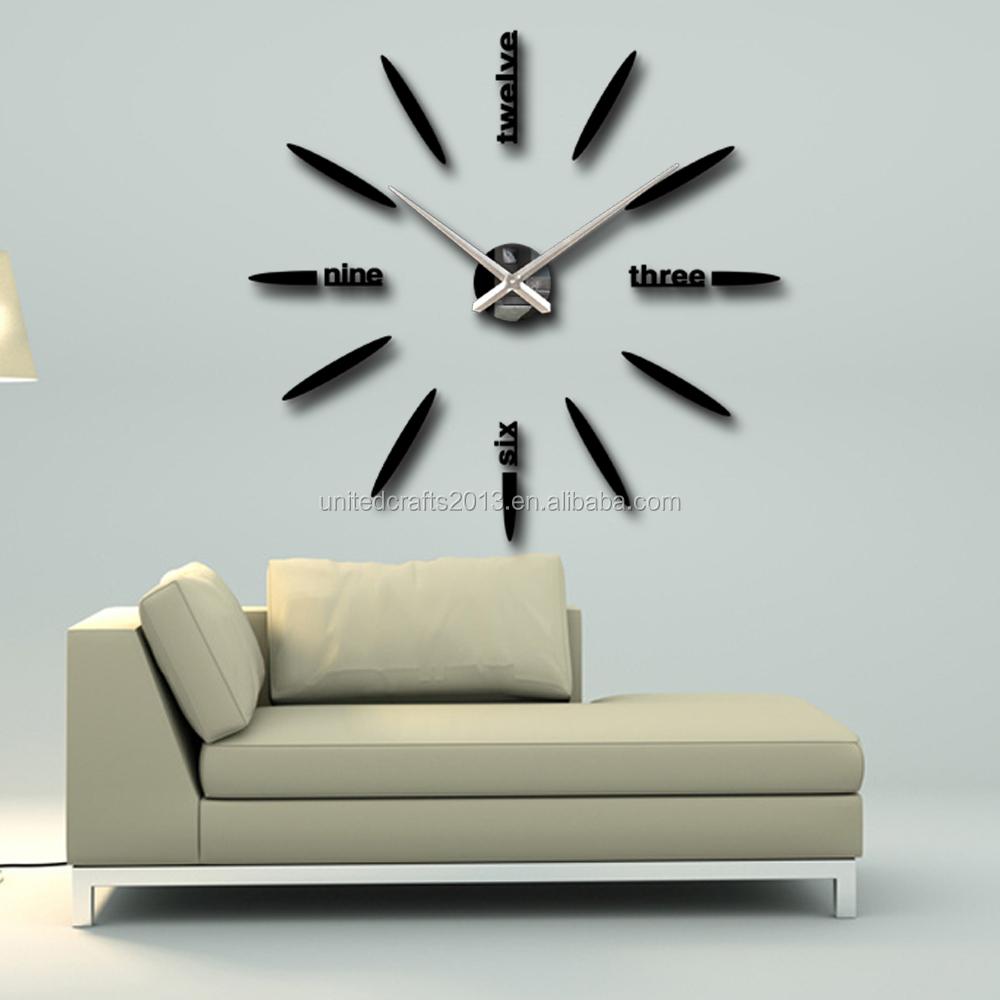 Fashion 3d Big Size Wall Clock Mirror Sticker Diy Brief Living Room ...