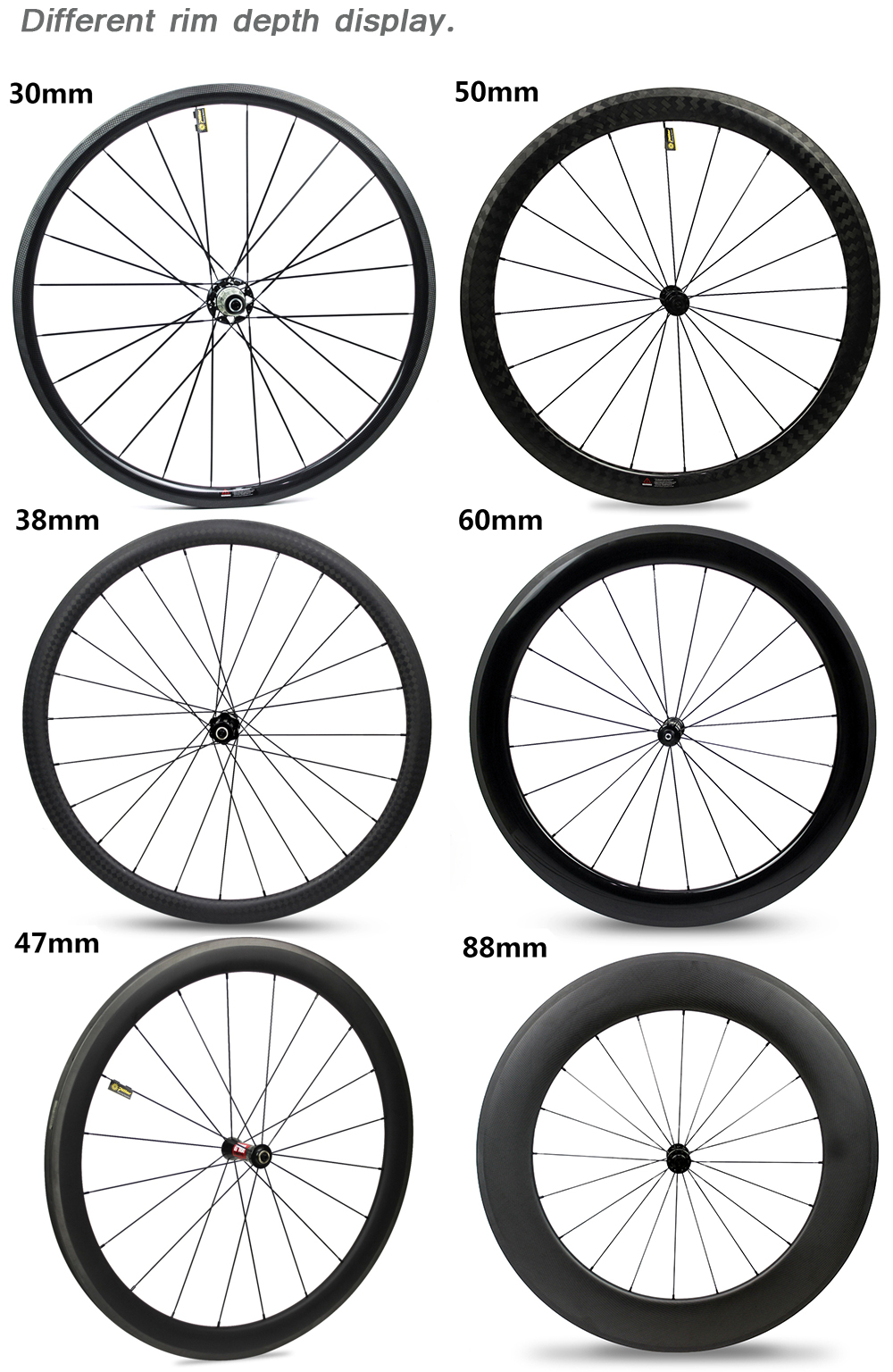 Chinese carbon fiber rim 50mm depth 700c cycling clincher carbon wheels