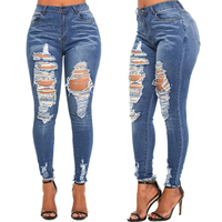 Fancy ripped demanda ripped skinny womens high waist denim jeans