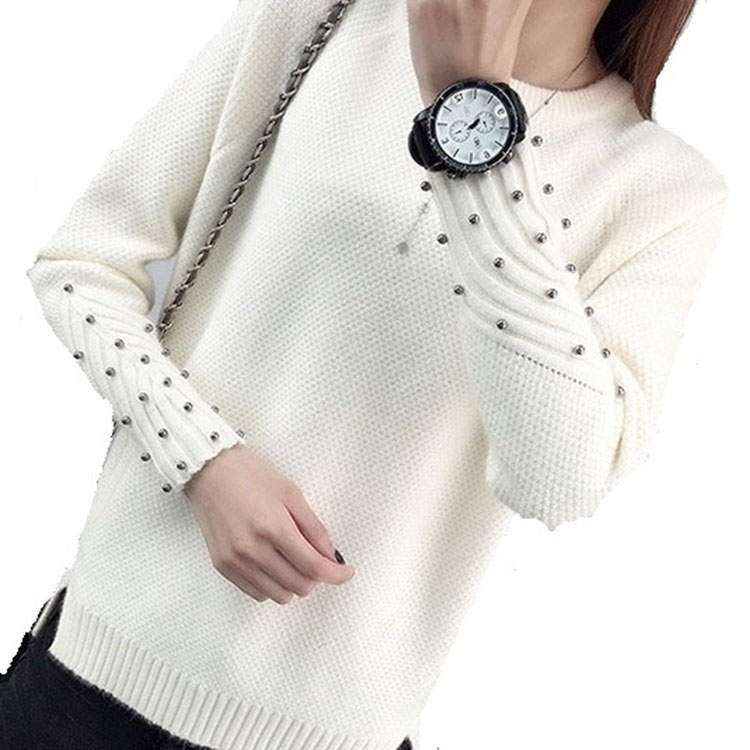 2019 cashmere sweater women turtleneck pullover ladies Beading Long Sleeve Pure Color Knitting Elegant Split winter Sweater