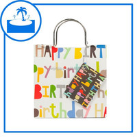 children kids birthday party gift white paper carrying bag with metal handle