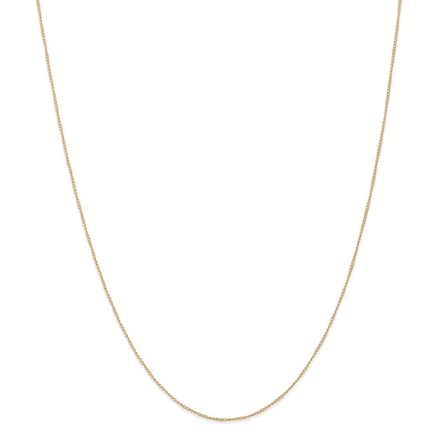 Solid 14k Yellow Gold .5 mm Thin Carded Cuban Curb Chain Necklace