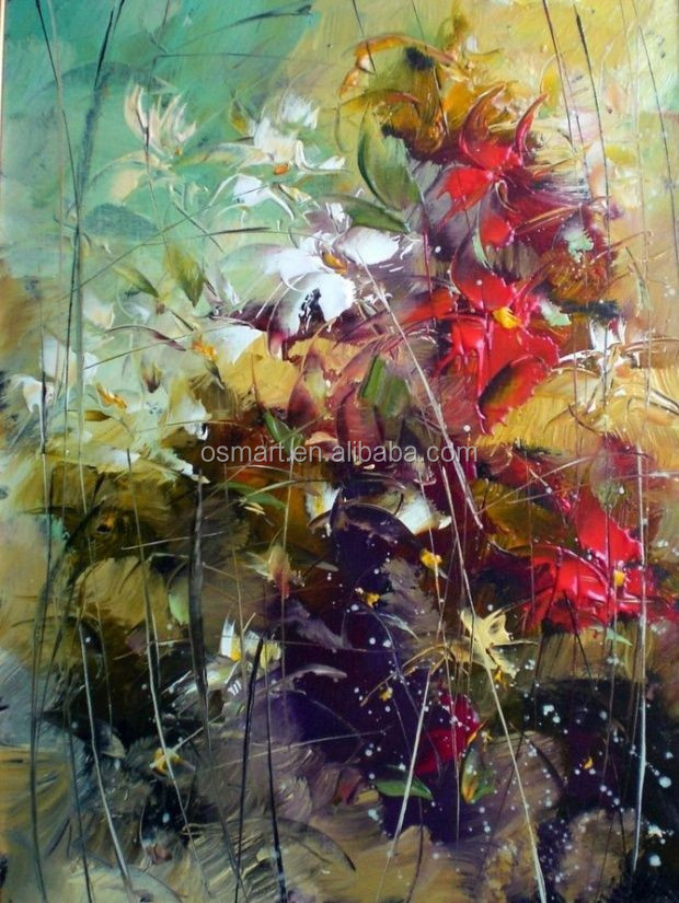 High Quality Handpainted Impressionist Modern Flower Oil Painting Canvas fabric flower nature oil paintings on canvas